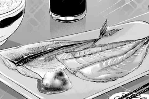 4.塩おにぎりとアジの干物
